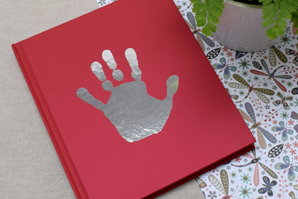 Personalized Foil Handprint red notebook