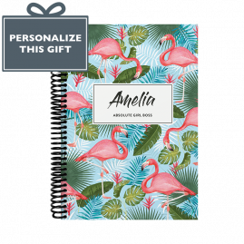 Personalised Flamingo Combined Diary & Notebook - Turquoise by from you to me