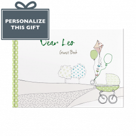 Personalised New Baby Green hardback guest book