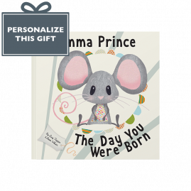 Personalized The Day You Were Born baby's arrival book pink mouse